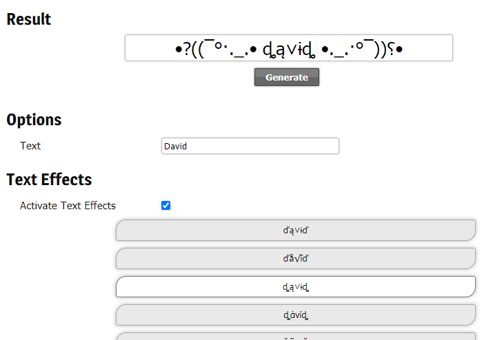 Stylish name generator